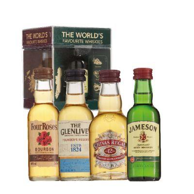 Je favoriete Whisky jameson, Four Roses, The Glenlivet en Chivas Regal 4 x 5 cl