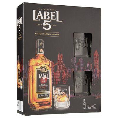 Label 5 Whisky Met 2 glazen 70 cl