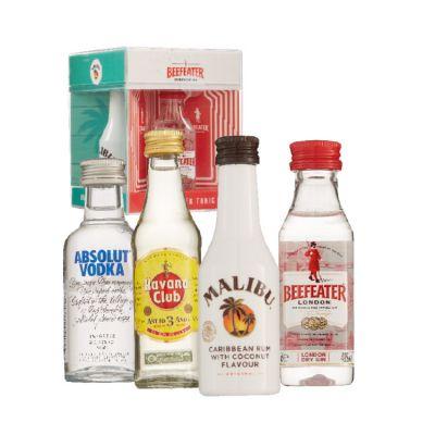 Drinks-2-Mix miniaturen Havana Club, Malibu, Beefeater en Absolut 4 x 5 cl